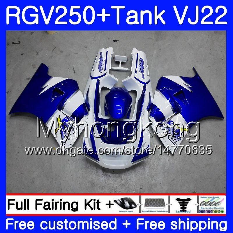 Corpo + Tanque Para SUZUKI VJ21 RGV250 88 89 90 91 92 93 307HM.11 azul claro quente RGV-250 VJ22 RGV 250 1988 1989 1990 1991 1992 1993 kit de Carenagem