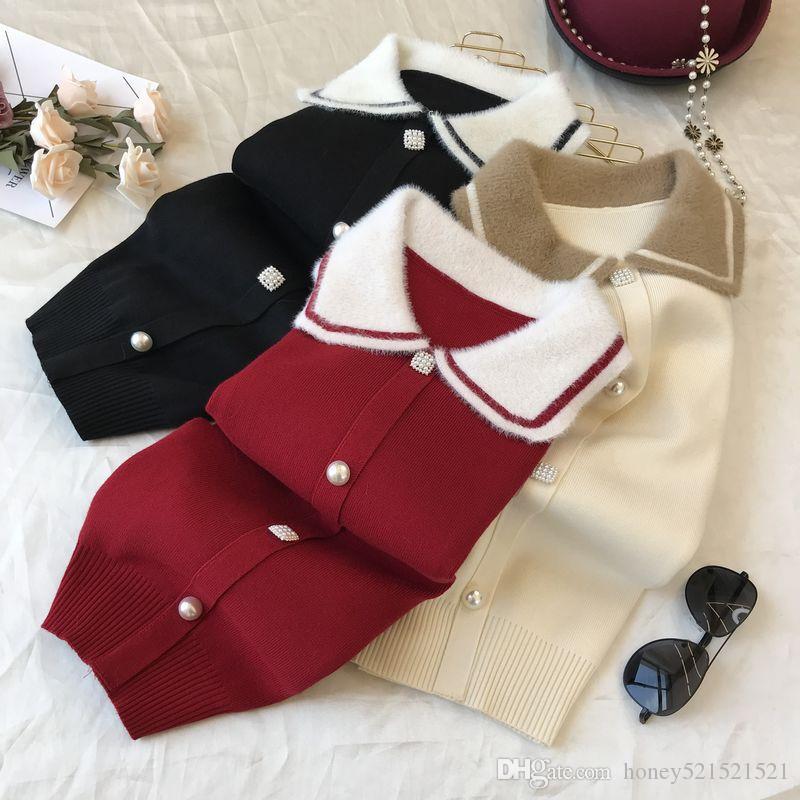 새로운 디자인 여성의 귀여운 컬러 블록 모헤어 울 팬 칼라 진주 버튼이 상단 셔츠 스웨터 니트 패치 워크 피터 니트