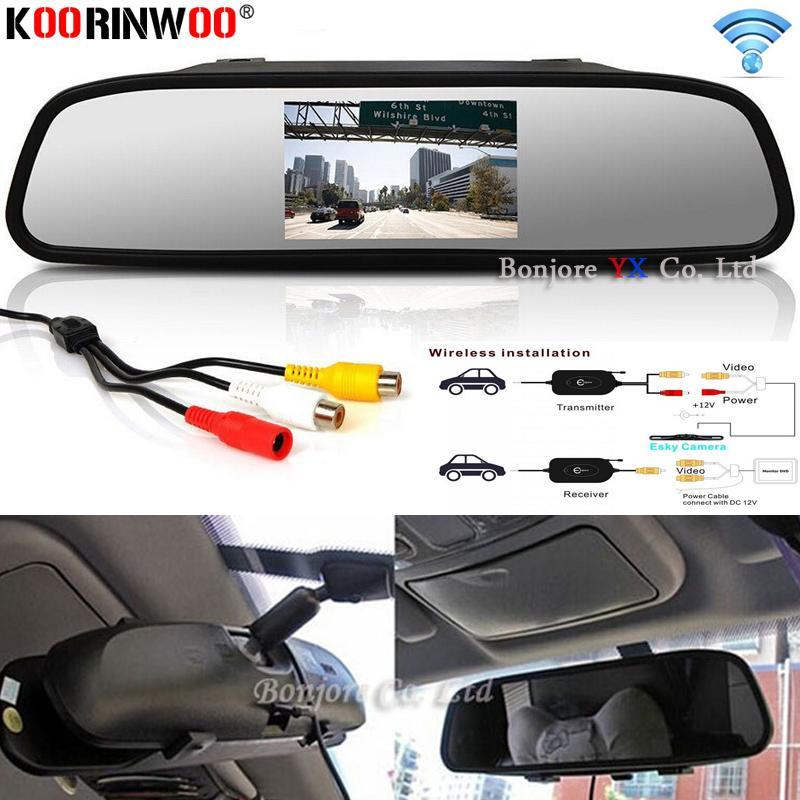 """Koorinwoo espejo del monitor sin hilos del coche 4.3 """"5"""" Pantalla de visión trasera cámara de color TFT LCD de pantalla de vídeo el aparcamiento retrovisor Volver"""