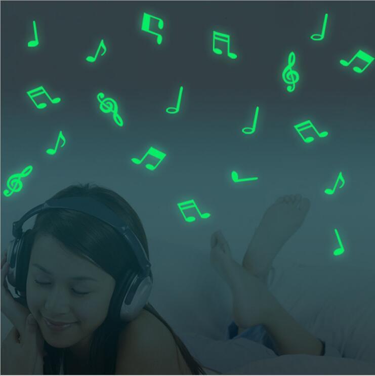 15 قطعة / الحقيبة الموسيقى ملاحظات يتوهج في الظلام مضيئة نيون المنزل ملصقات الحائط صائق زخرفة المنزل نوم