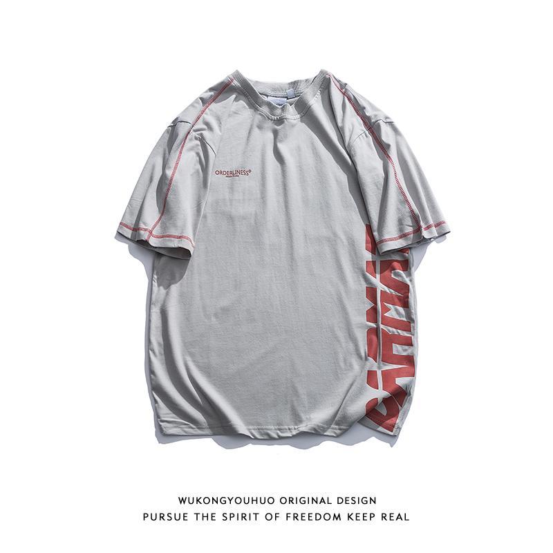 Trendy Wukong Stok Ins Popüler Marka Karşıt Renk Harf Short Sleeve tişört Erkek Sokak Gevşek Serisi Açık Hat Çiftler Kısa yazdır