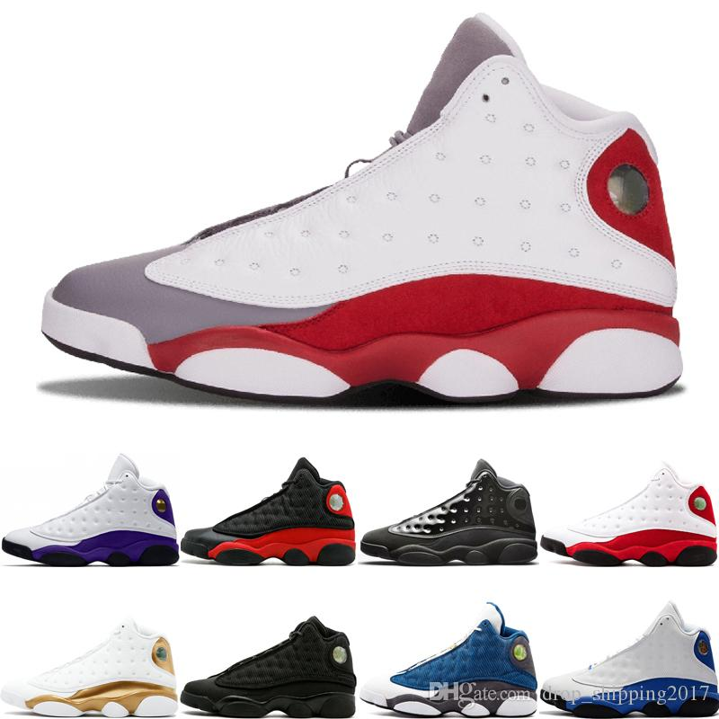 13 13s basketbol ayakkabıları Lakers Rakipler kap Gri Burun ve cüppe siyah kedi Chicago Hiper Kraliyet zeytin Erkek Spor Sneakers boyutu 7-13