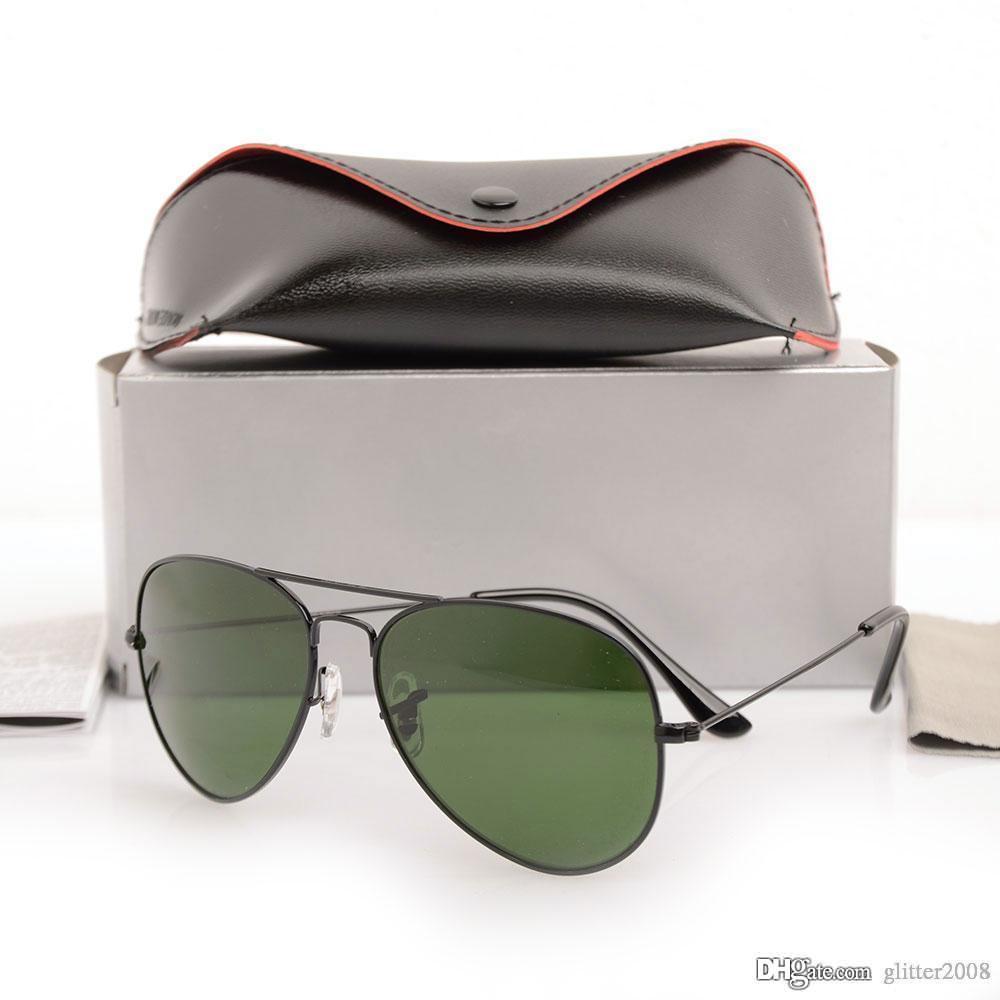 Sonnenbrille Spiegel Designer Marke Brille Klassische 58mm Sonnenbrille Herren Womans Metall 10 stücke Pilot Mode Brille Glas Sonnenbrille Sungla Vuwe