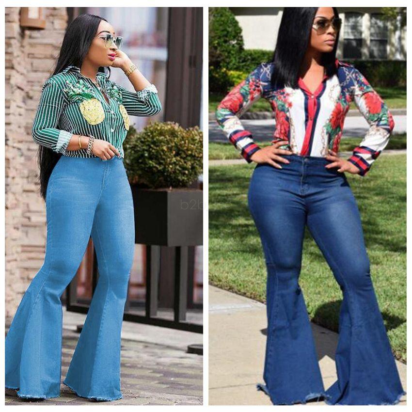 Женщины клеш джинсы штаны тонкий сексуальный вскользь Винтажная Bootcut Широкие ноги клеш джинсы офис леди юбочкой Джинсовые брюки LJJA2583