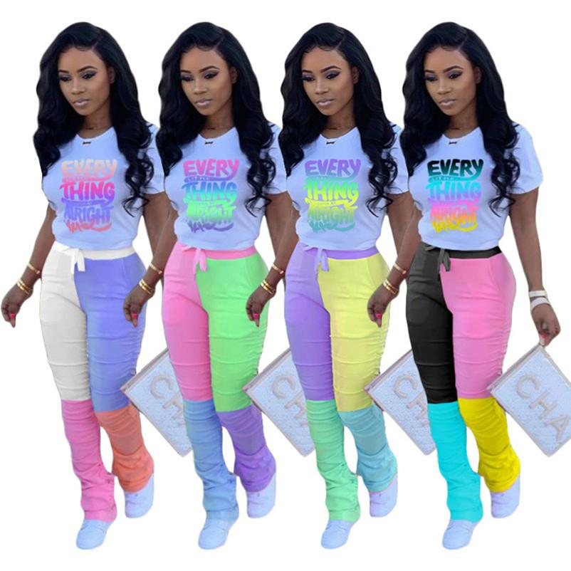 Women Designer Short Sleeve Suit joint T-shirts+Leggings 2pc Set Sweatsuit Tee Tops jogger Suit Summer Clothing 3375