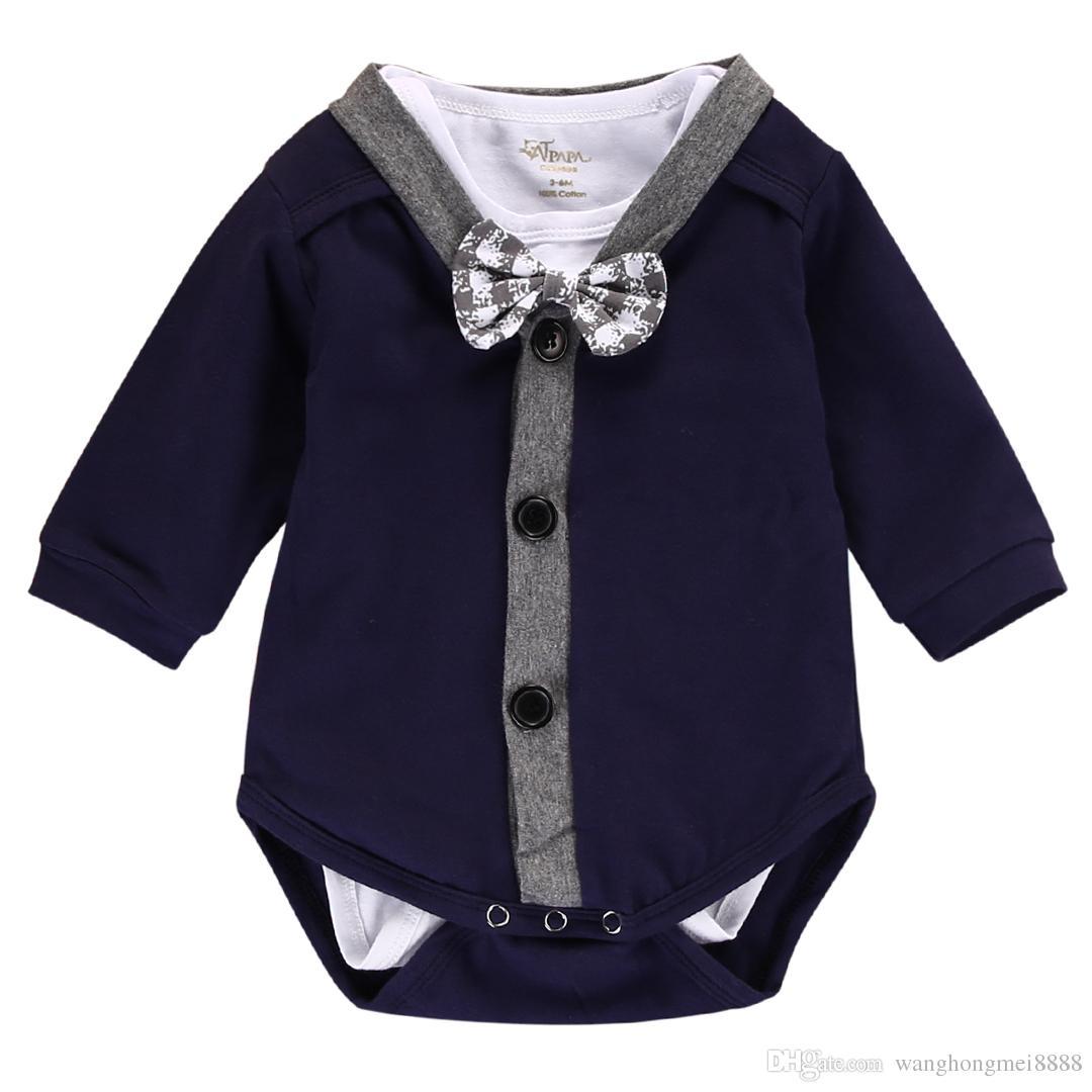 2 Pcs Set Recém-nascido Roupa do bebé Gentleman Brasão + Bow Cardigans camisola manga comprida Romper Macacão Conjuntos Roupa 0-18M