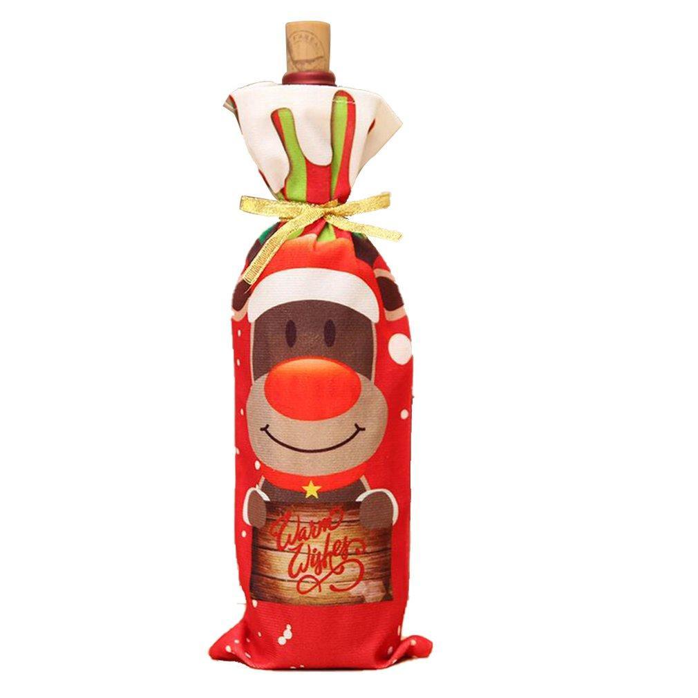 Noel Süsleri Şarap Şarap Şişesi Shell Yeni Noel Baba Kardan adam Kapak Masa Dekorasyon Ürünleri ayarlar