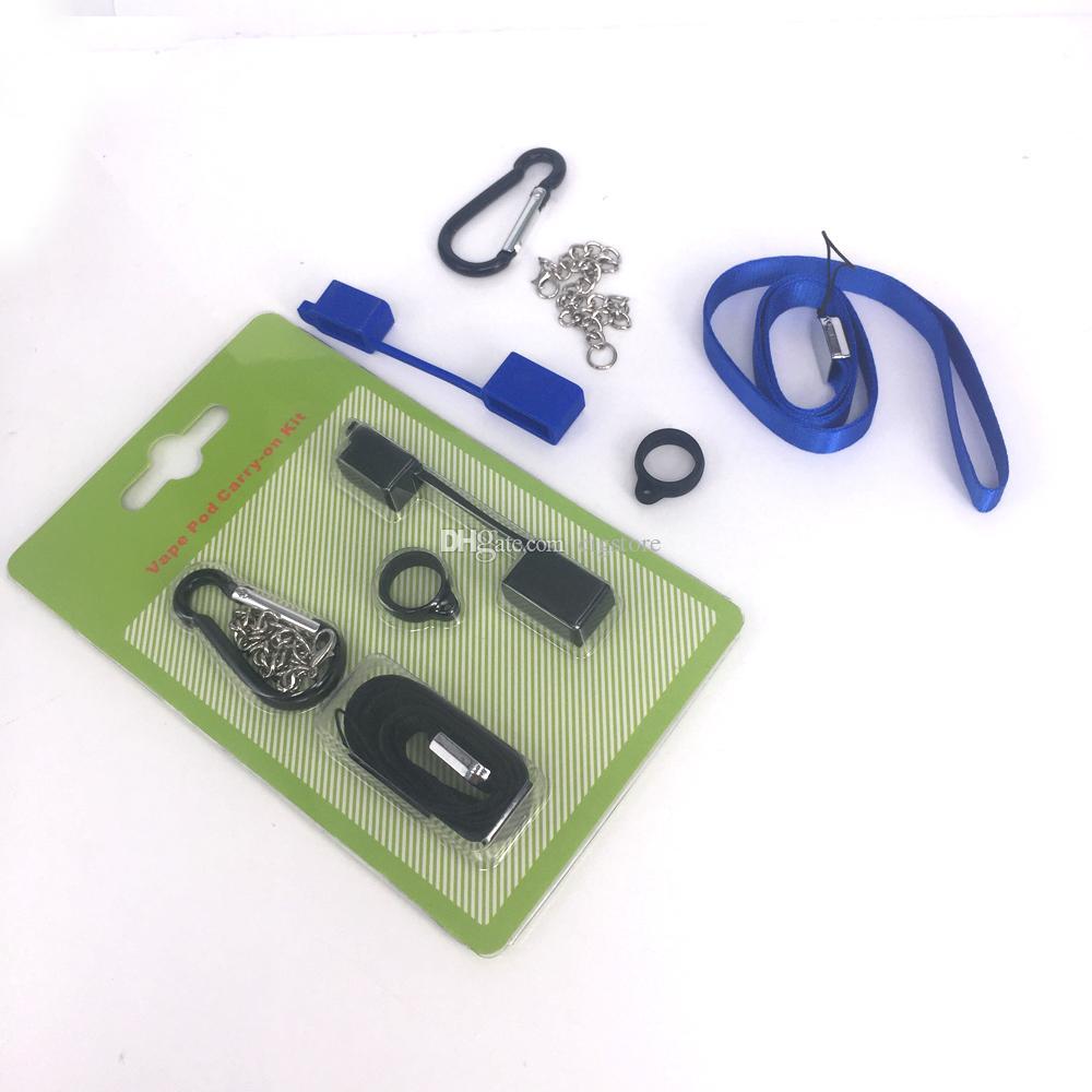 Vape eCig Pod Carry On Kit com Silicone Dustproof Cap Cordão Colar Anel Fivela Titular Para SMPO MT Flat vape Pen