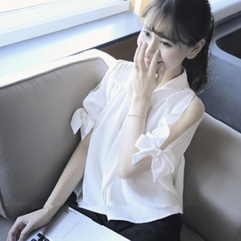 Sıcak 2019 Kadın Turn-down Gömlek Üst Yaka Ince Kısa Kollu Yay Yaz Kapalı Omuz Gömlek Beyaz Kadınlar Bluz QGDXP