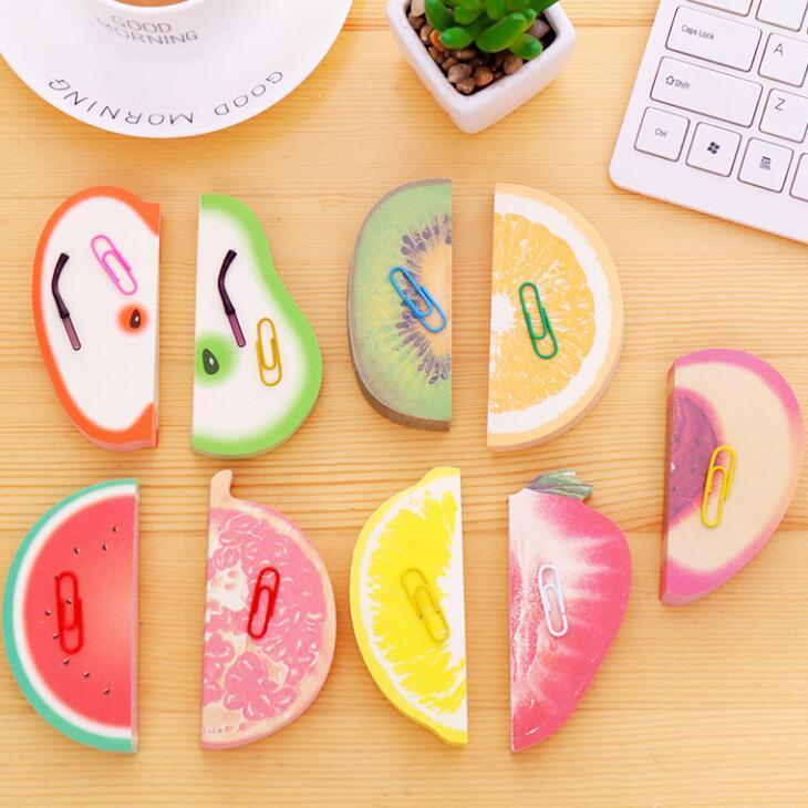 Dekorative Obst geformt Memo Pad Schreibwaren Haftnotiz Schöne Früchte Modelling Notizen Aufkleber Notizbücher Großhandel LX1875