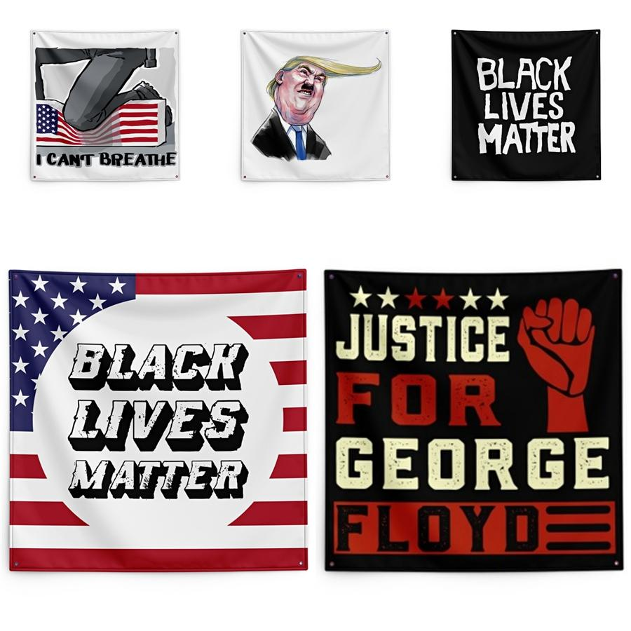 150 * 150cm I Cant Breathe Couverture George Floyd Impression Tapestry Lives noir Matter mur ménages Bannière # QA25789
