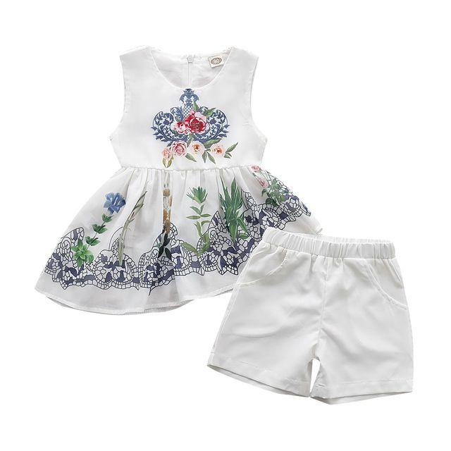 2Pcs Toddlers bambini Neonate Chiffon vita alta vestito floreale senza maniche Top pantaloni corti abiti abiti Set
