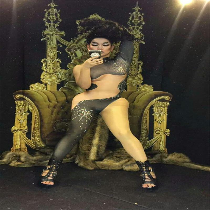 F80 Preto nu splice jumpsuit sexy cantor bodysuit festa clube desempenho outfit stage usa disco de dança de salão trajes de baile modelo pano
