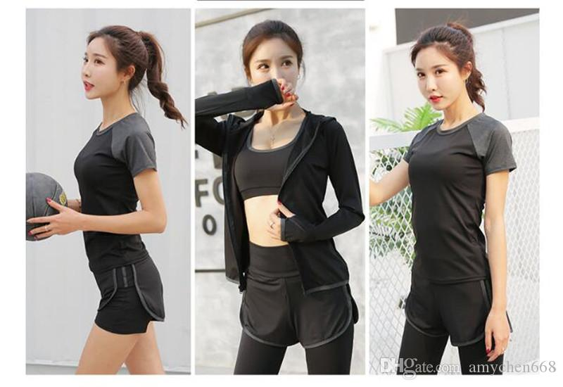 Women sportswear Set Fitness Clothes Running Tennis Shirt+Pants Yoga Leggings Jogging Workout Sport Suit 1set