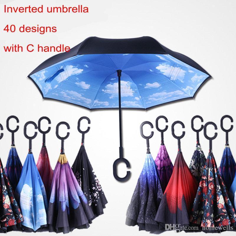 40 creativo di colori invertito Ombrelli a doppio strato con C gancio maniglia a mani libere può stare Inside Out Reverse antivento soleggiato pioggia Umbrella