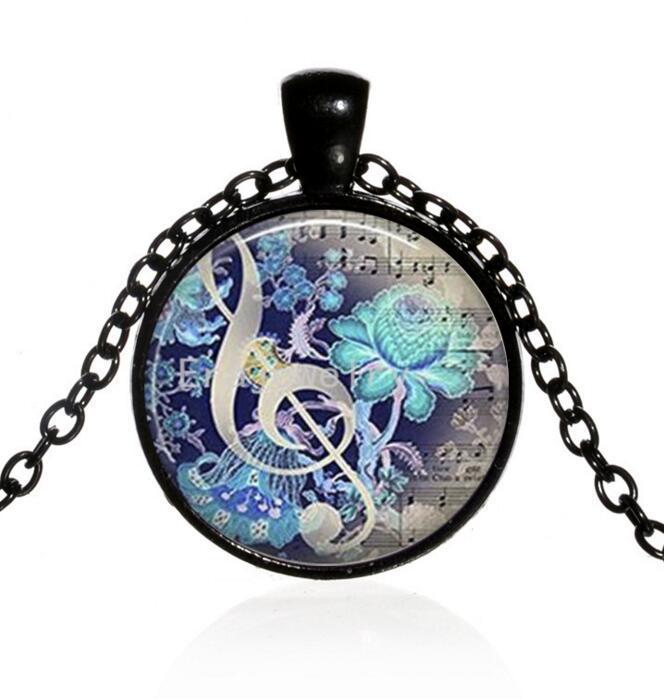 Catena Musica collana del pendente del Cabochon di vetro gioielli collana di modo regalo dei bambini di musica monili del regalo fascino nt dell'amante