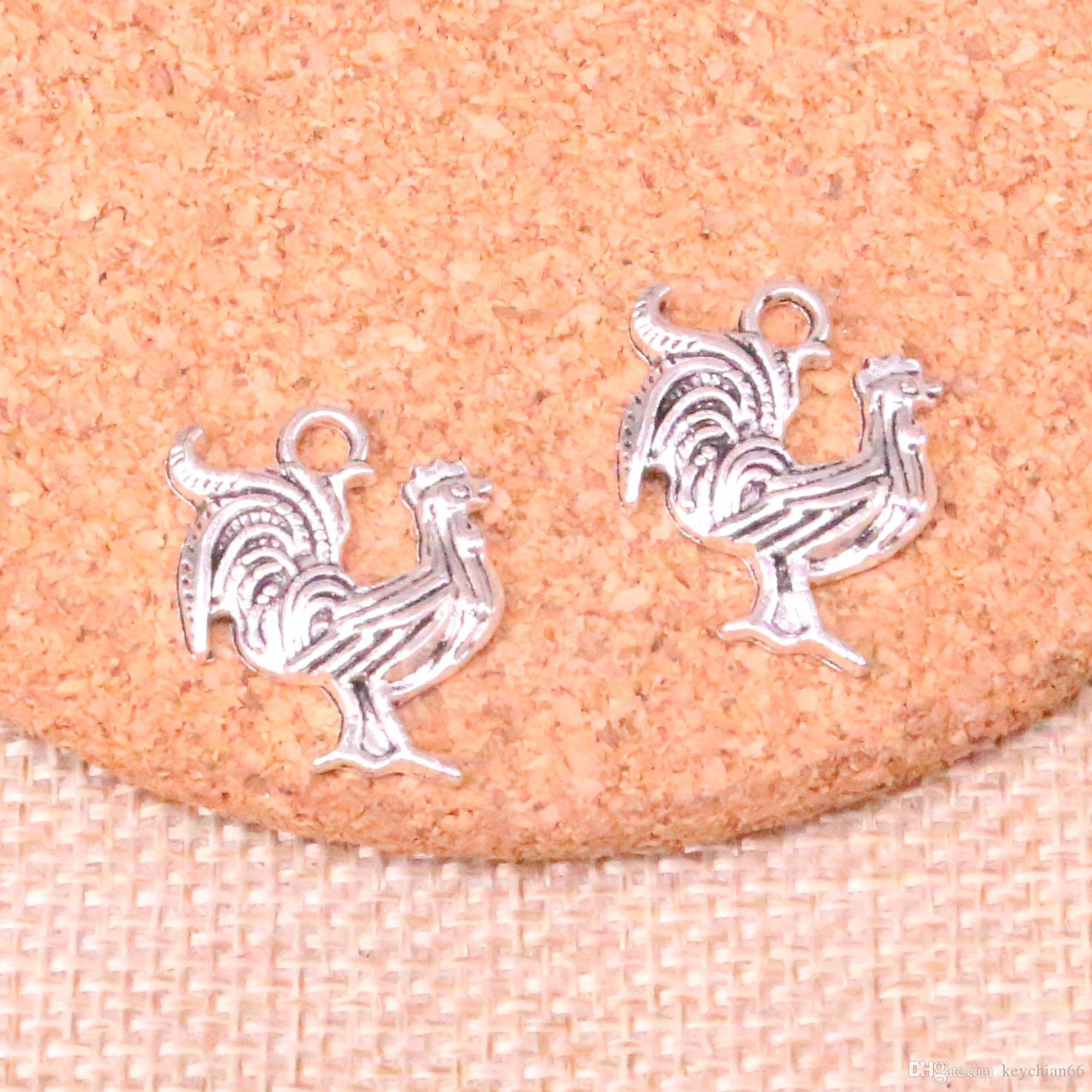 68pcs Antique silver cock rooster Charms Pendant Fit Bracelets Necklace DIY Metal Jewelry Making 22*18mm