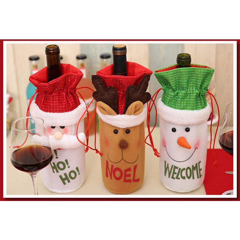 Tampa de garrafa de vinho de Natal Decoração de estilo de boneco de neve de Papai Noel