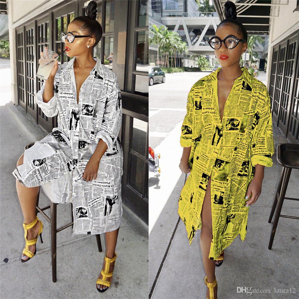 Yeni Satış Gazete Mektup Baskı Moda Kadınlar Uzun Gömlek Elbiseler Uzun Kollu Yaka Boyun Düğmeleri Bahar Yaz Gündelik Elbise 2019