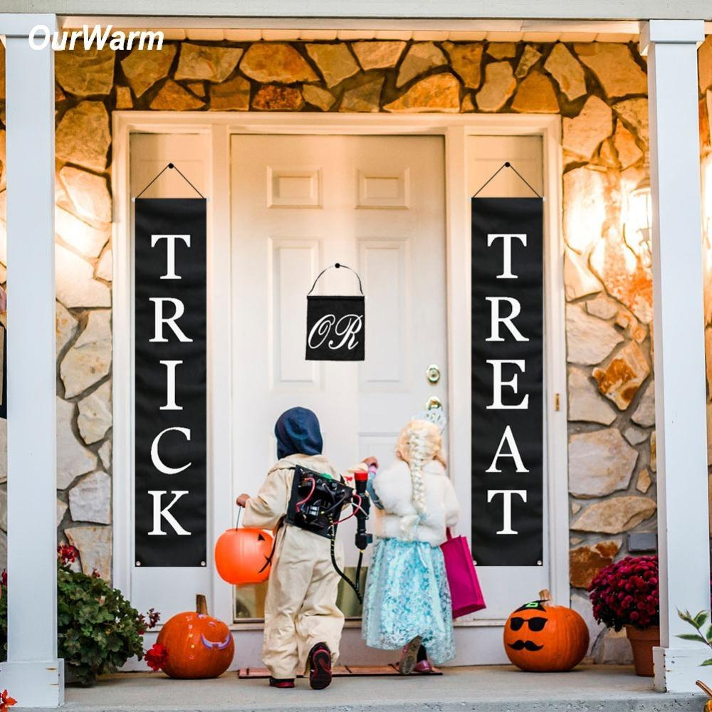 2020 OurWarm Halloween Decoration Trick Treat Halloween Banner Home Door Sign Outdoor fice Ready To Hang Festive Party Supplies CJ From