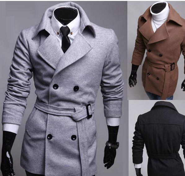 Kış Erkek Ceket Ve Mont Erkek Katı Dar Kesim Casual Çift Breasted 2017 Erkek All-maç Marka Giyim Coat Uzun Siyah M-2XL