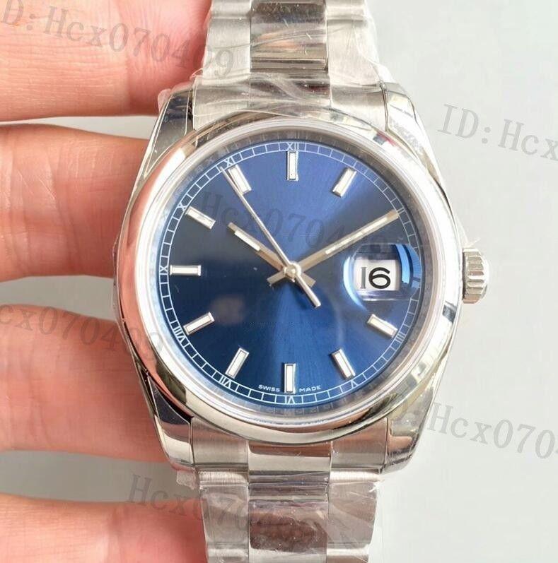 La mejor calidad 116.200 hombres de 36 mm Cal: 3135 Movimiento automático de acero 904L Esfera Azul del reloj para hombre Relojes