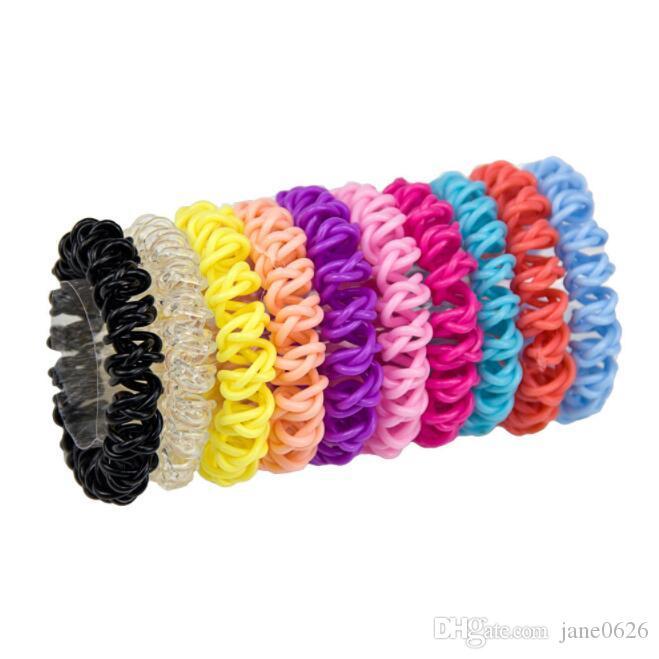 Девушки Красочные Радуга Спиральные Связи волос Веревка Телефонный провод Пластиковый Нет Криз Coil утолщенной 10 цветов Бесплатная доставка
