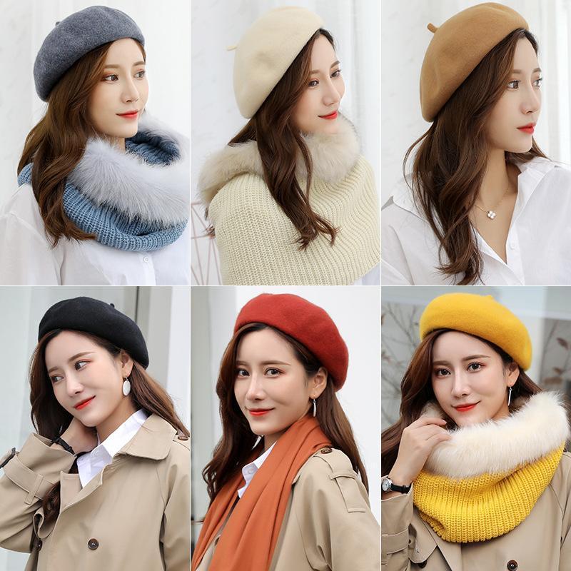 Mode Lady laine Beret Chapeaux Femmes Voyage causales Hiver chaud Solide Couleur Bonnet Outdoor Bonnet Fille Casquettes TTA1456
