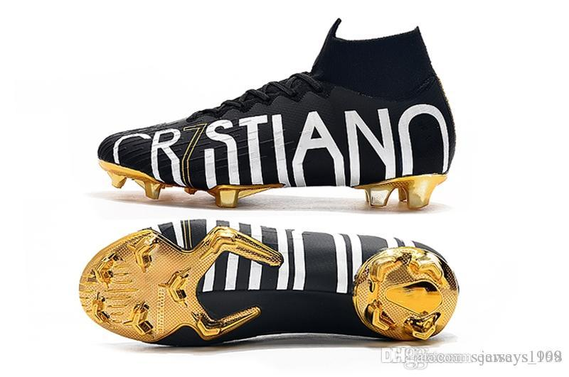 2019 New Gold CR7 SE Elite VI 360 FG Soccer Shoes Football Boot Mercurial Superfly 6 LVL UP Cristiano Ronaldo Men Soccer Cleats