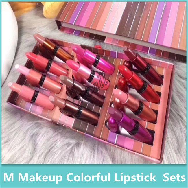 Berühmte Regenbogen Lippenstift Set, Super High Value 12 Stück Set Bullet Bright Lipstick Set Hochwertige Kosmetik