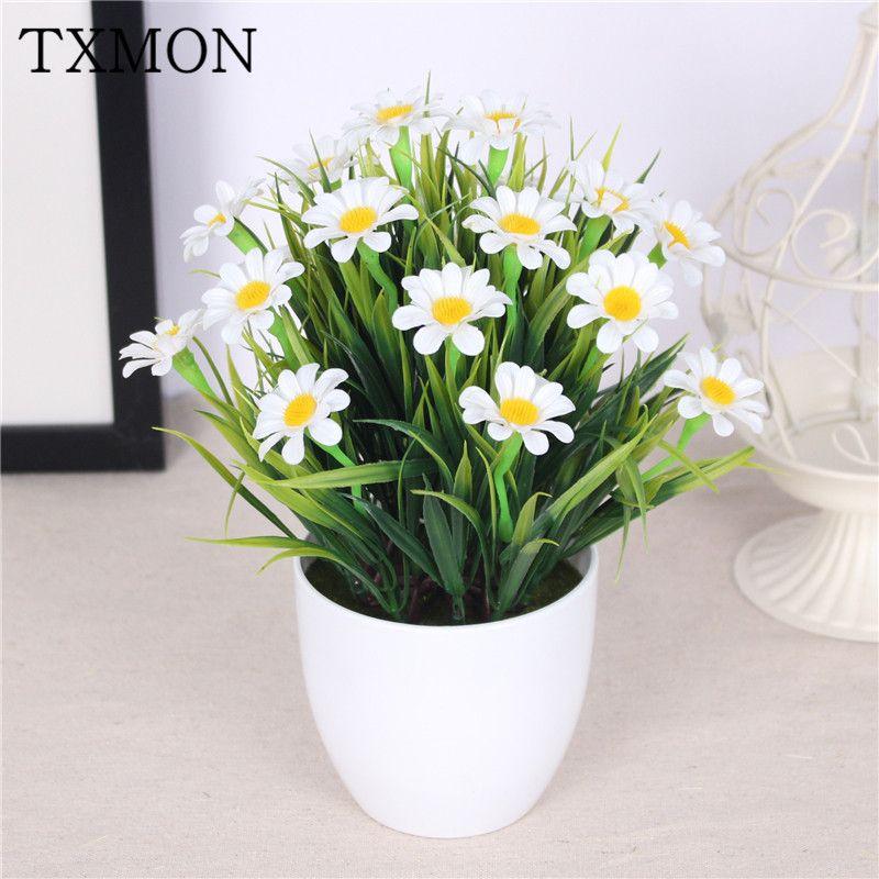 Simulazione del crisantemo dell'erba di primavera pianta in vaso di fiori stabilita a casa soggiorno decorazione del giardino pianta verde plastica falso fiore