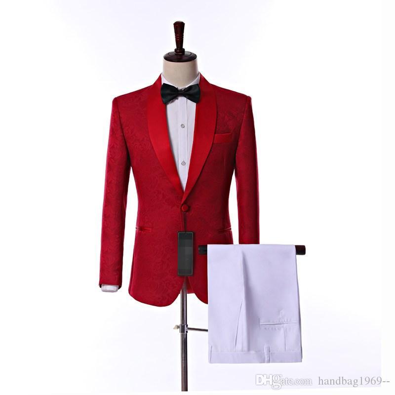 새로운 도착 원 버튼 레드 페이 즐 리 신랑 턱시도 어깨 걸이 옷깃 웨딩 파티 정장 (자 켓 + 바지 + 넥타이) K9