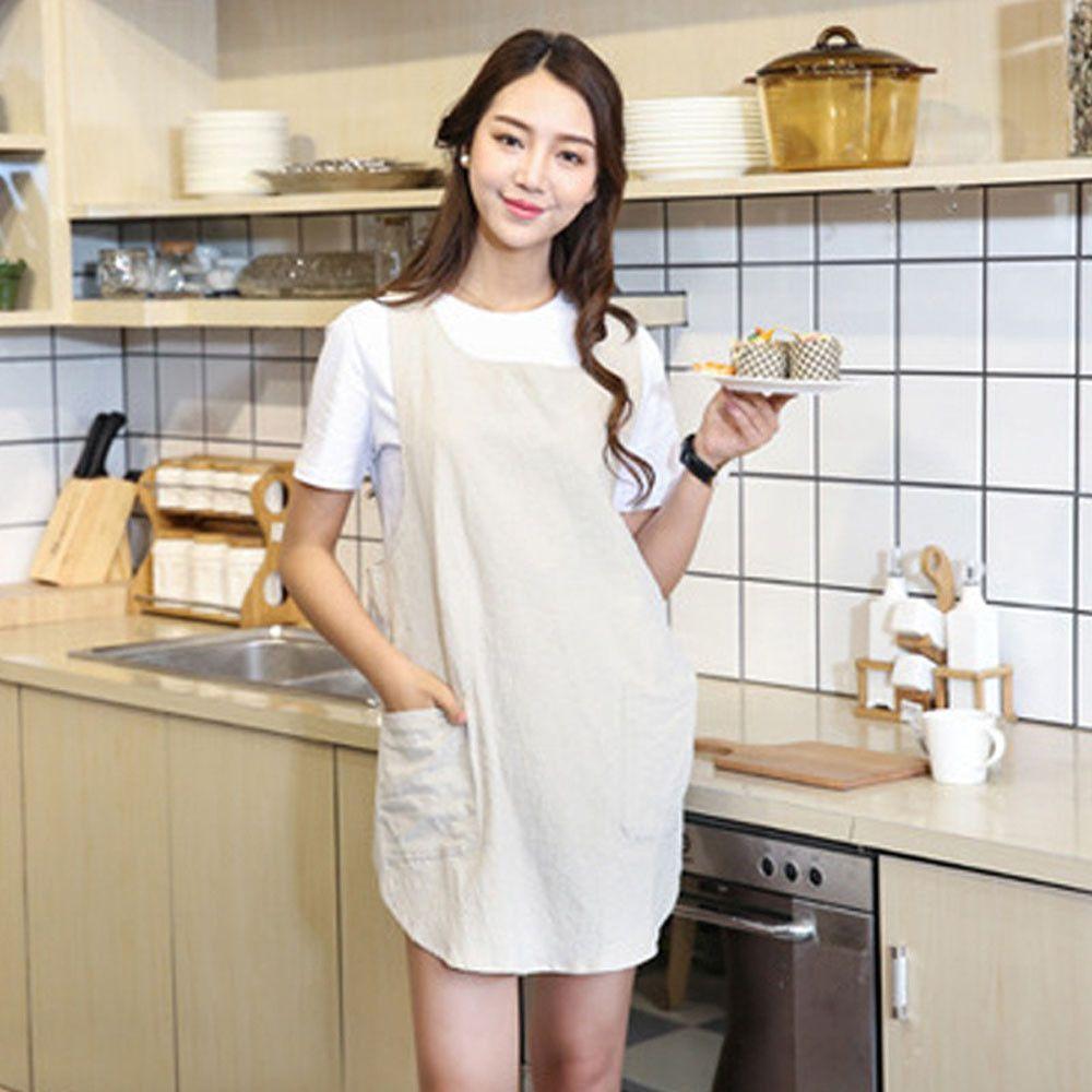 Cozinha que cozinha o avental aventais Senhora Mulheres Algodão Linho Cruz Voltar avental estilo japonês Trabalho Doméstico cozinha Enrole Pinafore com bolso
