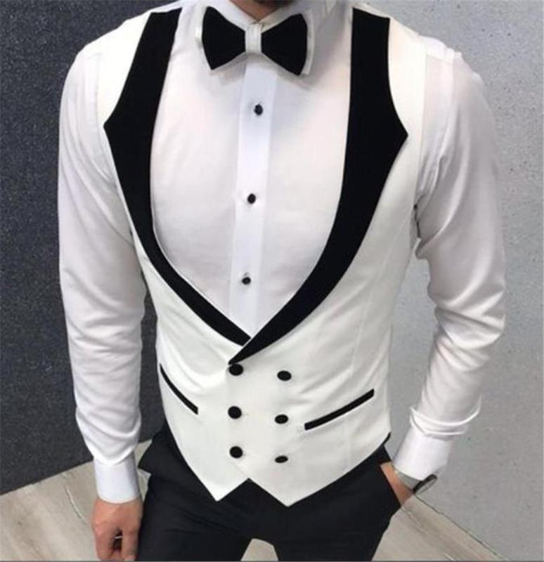 White Double Breasted Fashion Wedding Vests Men's Waistcoat Slim Fit Groom Vests Business Suit Vest Mens Vest Formal Party