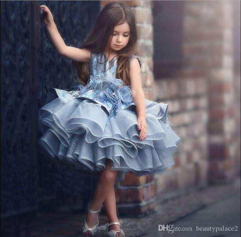 Vestido de alta qualidade bebê Crianças Azul camadas Tutu Curto Pageant Vestidos Princesa 2020 Glitz Tulle Puffy menina de flores Vestidos Dubai formal do partido