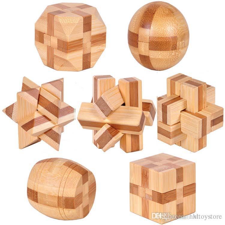 Wholesale-7pcs / lot 3D Çevre Dostu bambu IQ yapboz zeka yetişkinler bulmaca, çocuklar için eğitici ahşap oyuncaklar