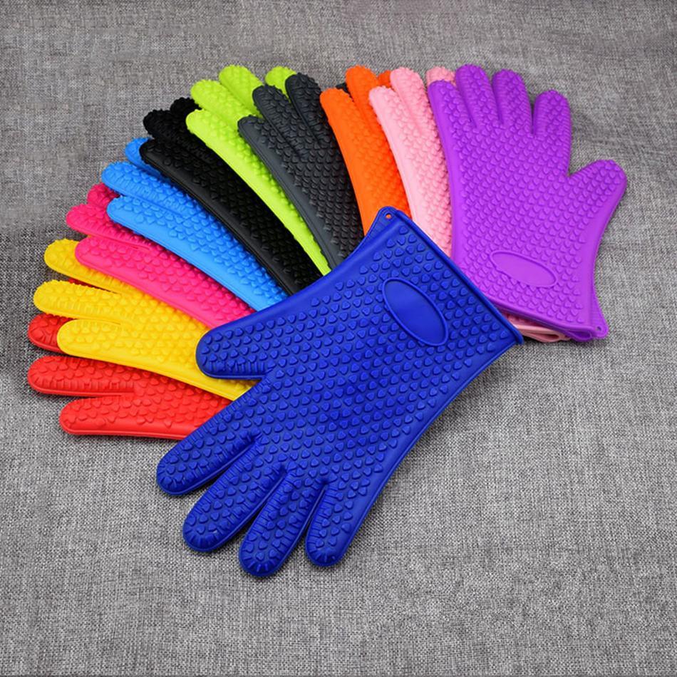 Духовка Силиконовые перчатки Микроволновая Рукавицы скольжению выпекание Кухня Приготовление торта Выпечка Инструменты изолированные перчатки LJJA3593-13