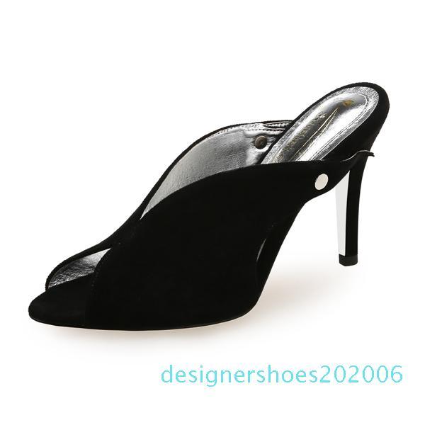 Zapatos de las mujeres talones Mujer tacones altos de las mujeres del dedo del pie del pío mulas Thin talón de los zapatos ocasionales del partido suave nueva llegada del verano 2020 DE d06