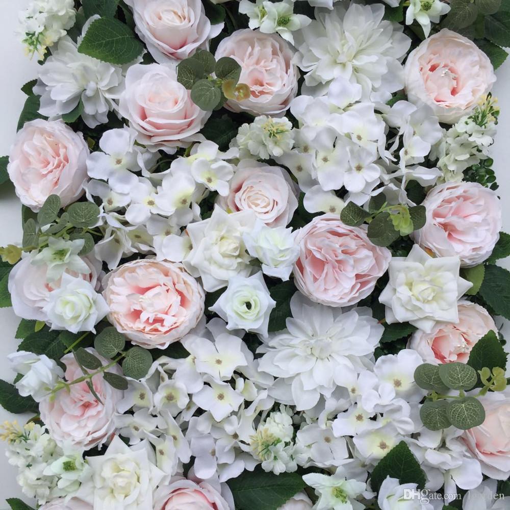 10pcs / lot 3D mur de fleurs artificielles et de faux rangées de fleurs utilisent Rose et le nouvel hortensia pour la décoration de fond de mariage