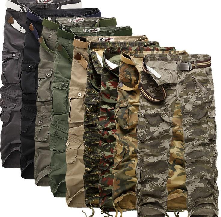 Men Baggy Fishing Outdoor Cargo Combat Work Trousers Army Military Camo Pants UK