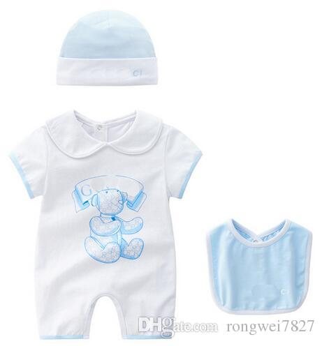 Retail Baby Rompers Summer Baby Girl boy Clothes Cartoon Newborn Baby ClothesShort-sleeved Doll Collar Infant Jumpsuits Girl Clothing Set