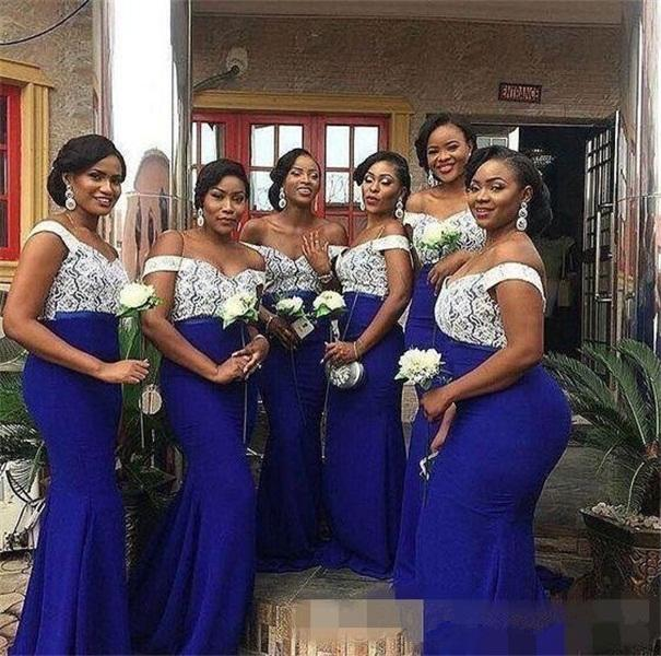 South African Lace Top Royal Blue Mermaid Bridesmaid Dresses 2020 Plus Size Evening Prom Gowns Wedding Guest Dress
