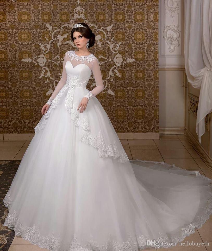 الكرة ثوب طويل الأكمام الأبيض اورجانزا زائد الحجم فساتين زفاف الأميرة أثواب الزفاف vestidos دي noiva 2019 زهير مراد فساتين