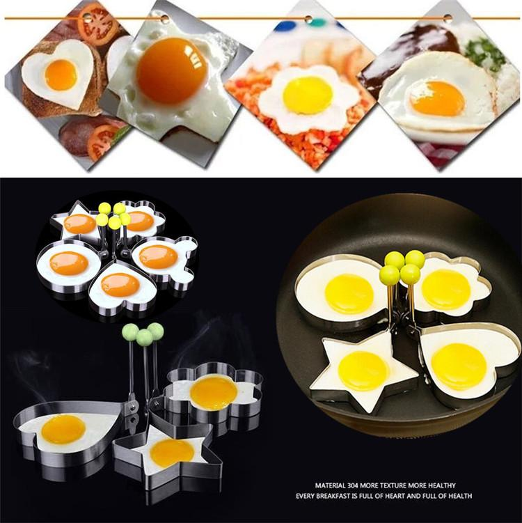 Fried Egg Mold Non-Stick Stainless Steel Cartoon Heart DIY Cooking Biscuit Meatloaf Mold Set Tool pancake rings Kitchen Accessories Egg I112