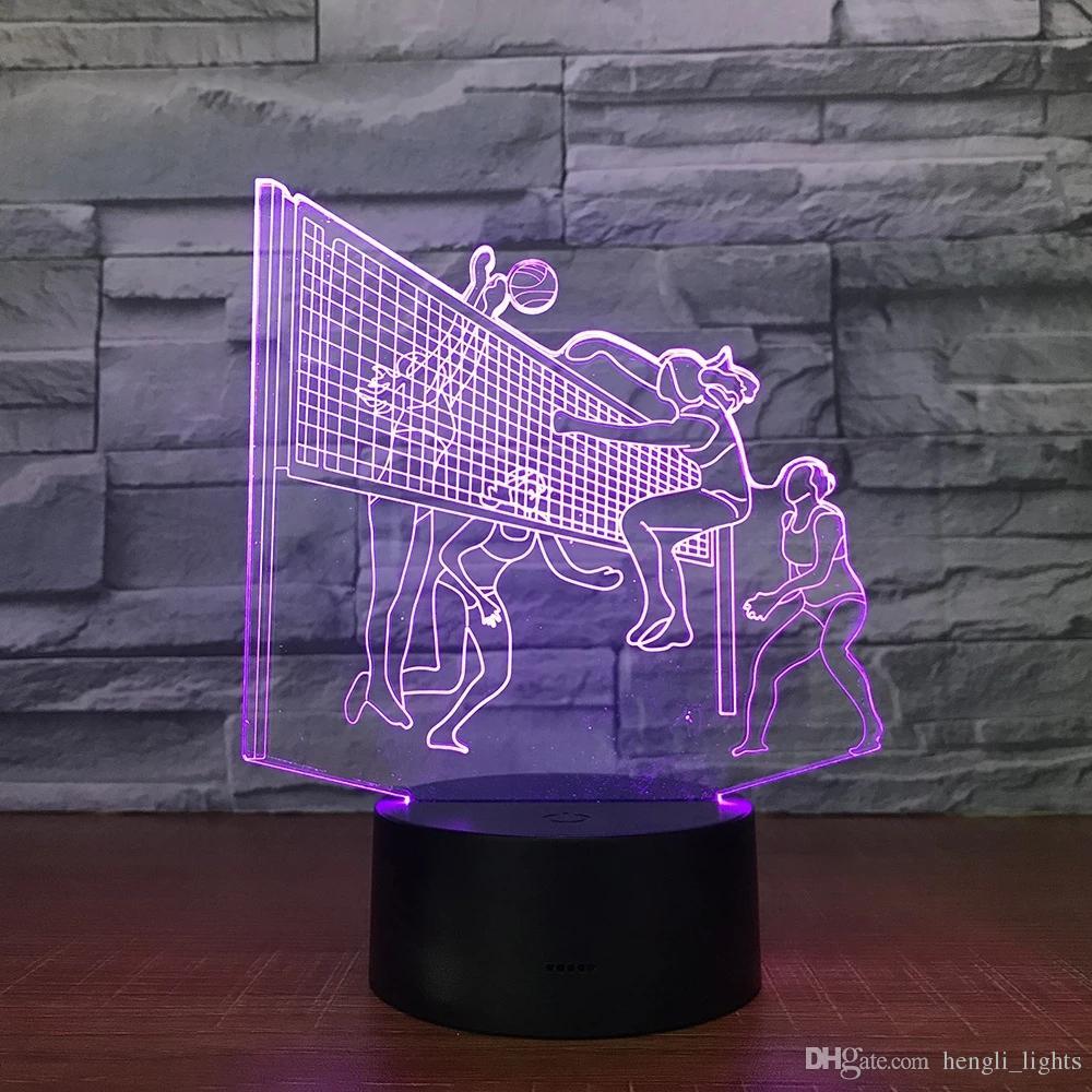 Пляжный волейбол Женщина Матч 3D ночник 7 цветов привели лампу Детей сенсорного Led Usb Таблица Lampara Лампа Дети JK0133