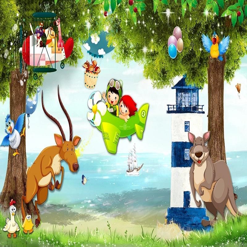 Coutume grande peinture murale papier peint 3D monde animal dessin animé conte de fées enfant garçon chambre murale TV mur arrière décor profond 5D embossé
