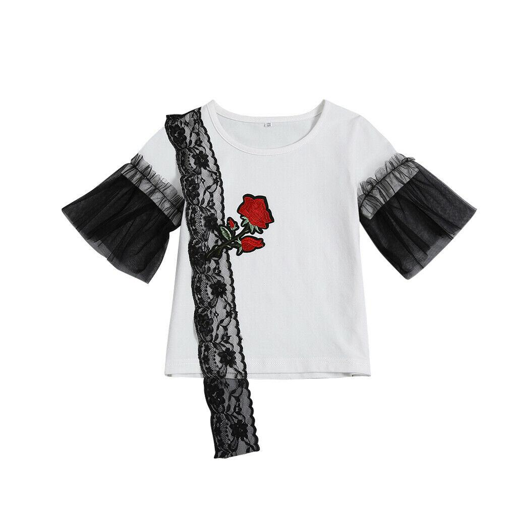 Kids Girls Summer Clothes Floral Embroidery Black Lace T-Shirt White Tops Tee