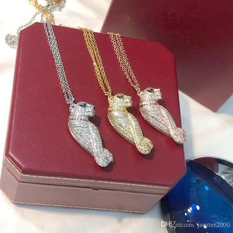 حار بيع أزياء سيدة النساء النحاس 18 كيلو الذهب سلسلة مزدوجة قلادات طويلة مع كامل الماس الأخضر عيون الزركون ليوبارد قلادة