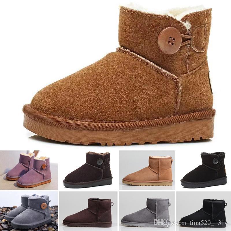 UGG boots de haute qualité Vente chaude Bottes de neige Bottes de neige en cuir véritable pour tout-petits Bottes avec chaussures de sport Chaussures Filles Noeuds enfants