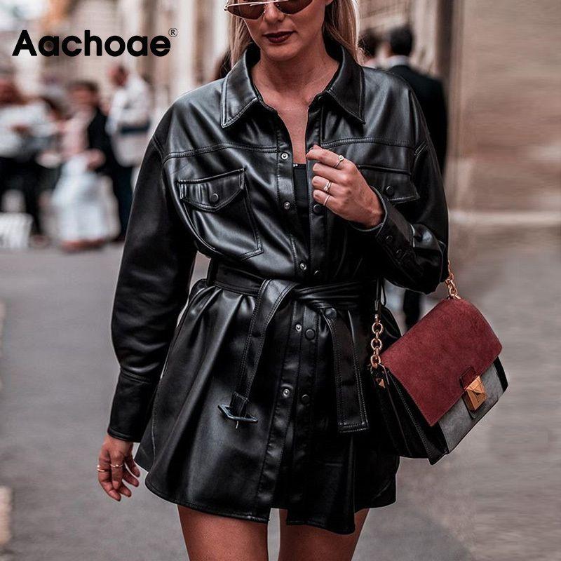 Aachoae искусственная кожа куртки женщины с длинным рукавом галстук пояс талия уличная одежда пальто дамы 2020 мода искусственная кожа рубашка куртка топы T200701